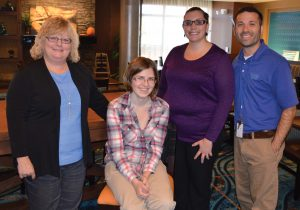 Pictured left to right are Renee Rishel, assistant general manager, Marriott's Fairfield Inn & Suites in Easton; Hospitality Program Graduate Abby; Tara Crutchley of Benedictine's Supported Employment Hospitality and Retail Training Program; and Waitman Vandorsdale, general manager of Marriott's Fairfield Inn & Suites, Easton.